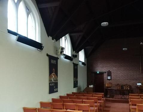 Herschel Summit heaters warming church