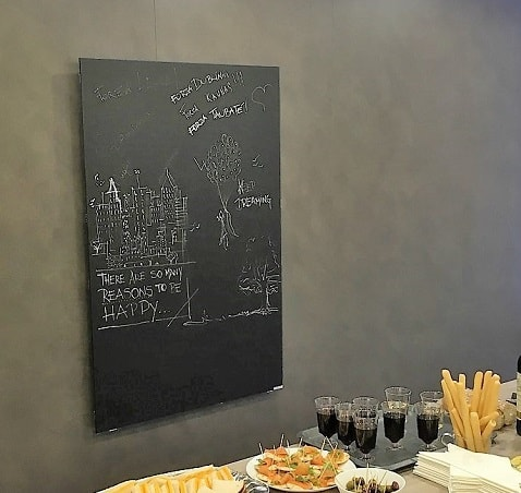 heated blackboards which are great for our designers to sketch on