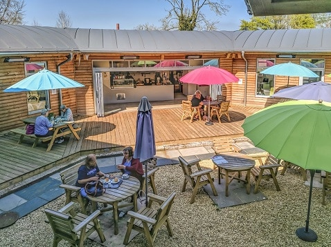 outdoor school cafe heated by Herschel