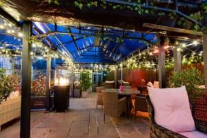 Herschel Manhattan warming a gin terrace